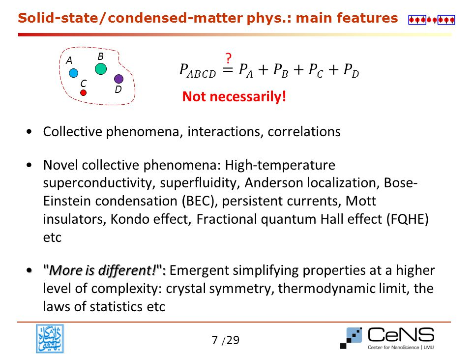 Solid-state/condensed-matter phys.: main features