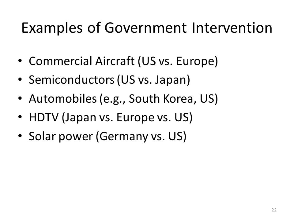 Examples of Government Intervention