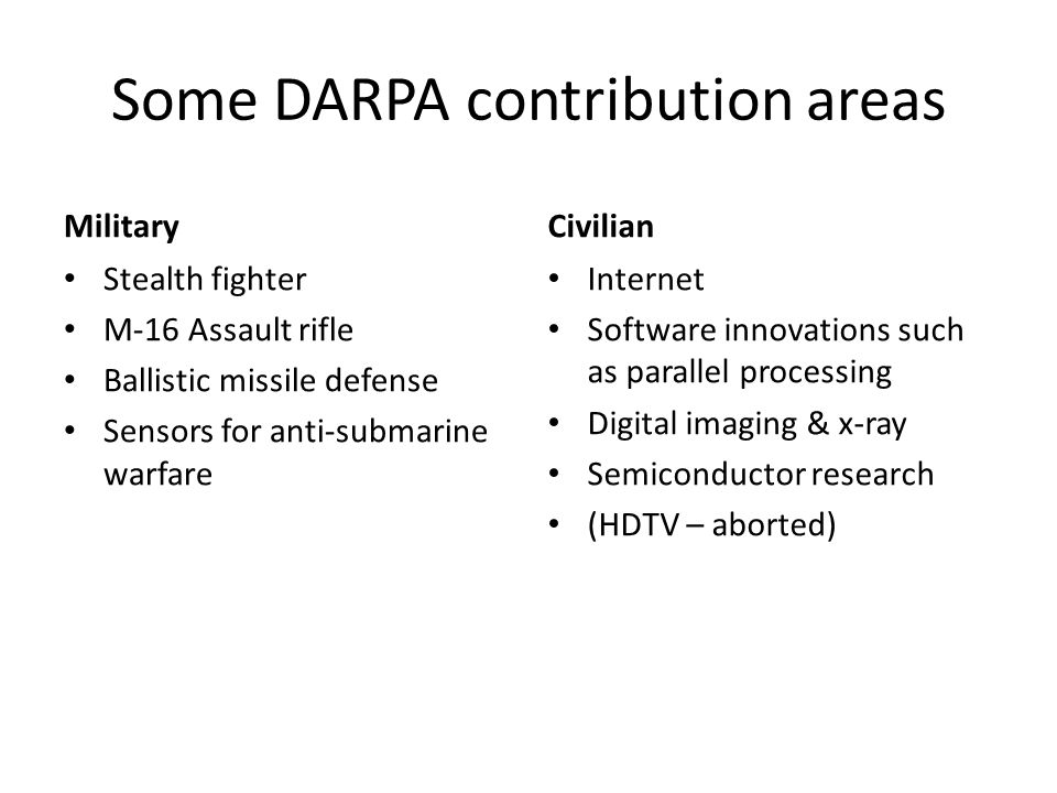 Some DARPA contribution areas