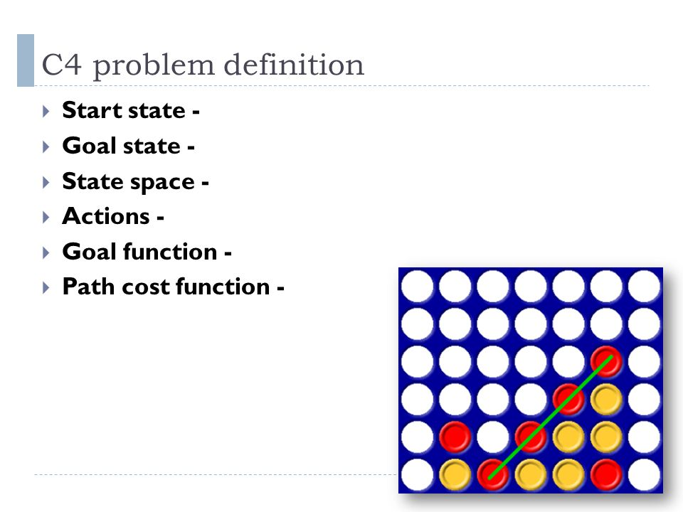 C4 problem definition Start state - Goal state - State space -
