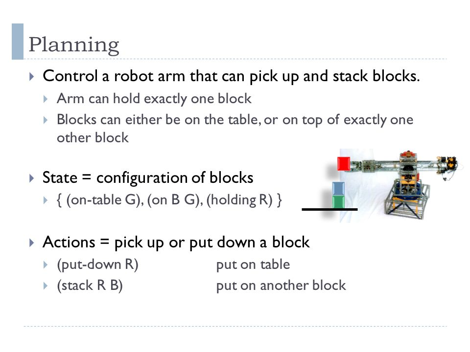 Planning Control a robot arm that can pick up and stack blocks.
