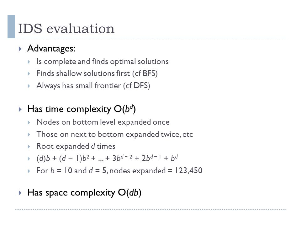 IDS evaluation Advantages: Has time complexity O(bd)