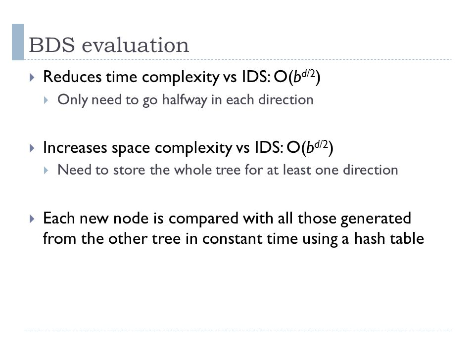 BDS evaluation Reduces time complexity vs IDS: O(bd/2)