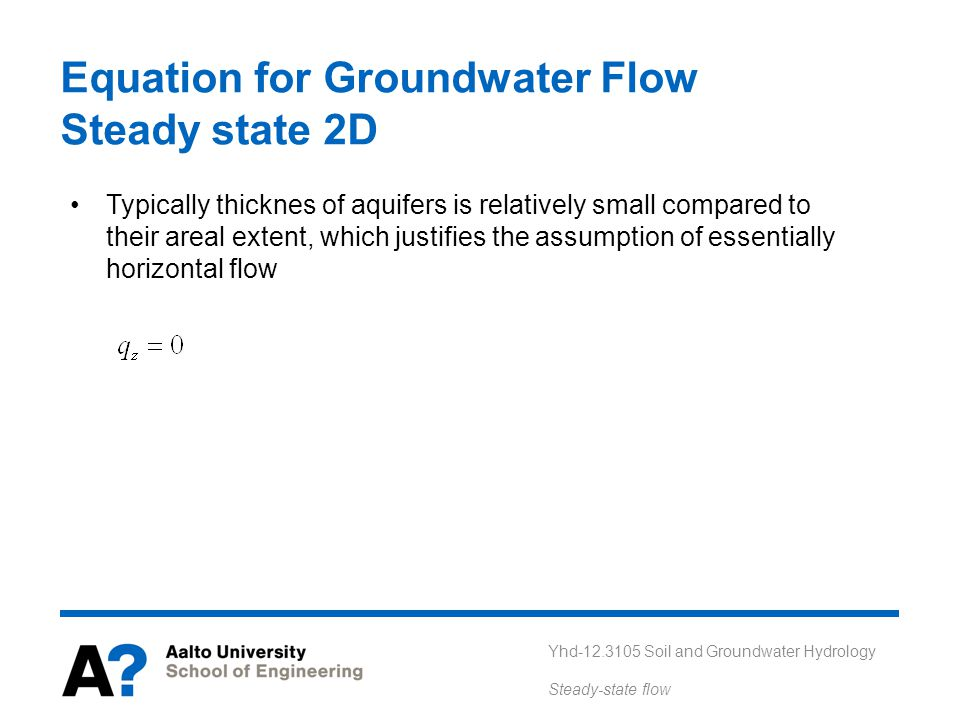 Equation for Groundwater Flow Steady state 2D