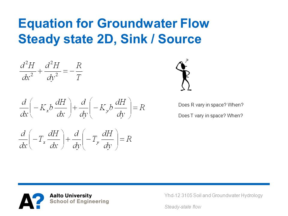 Equation for Groundwater Flow Steady state 2D, Sink / Source