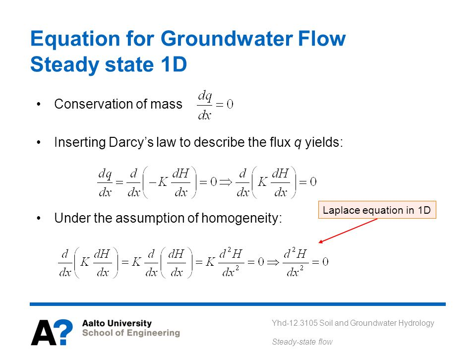 Equation for Groundwater Flow Steady state 1D