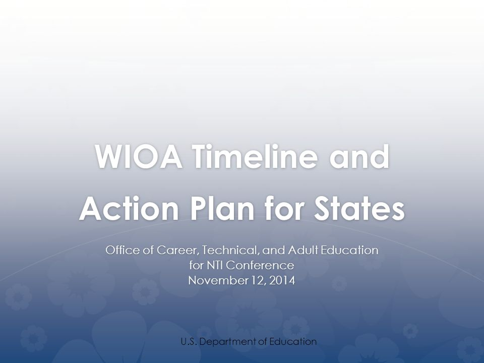 WIOA Timeline and Action Plan for States