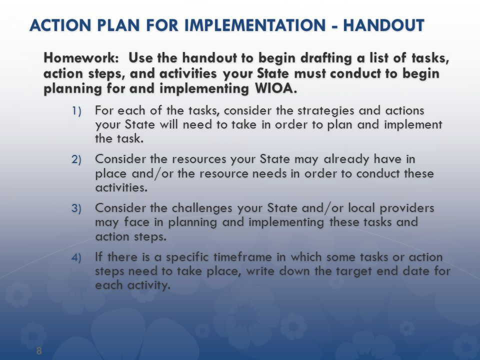 Action plan for implementation - handout