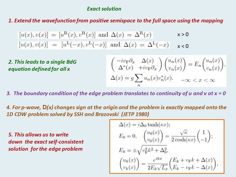 Exact solution 1. Extend the wavefunction from positive semispace to the full space using the mapping.