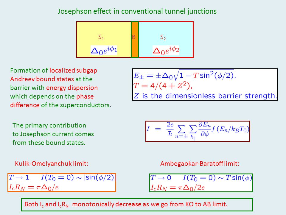 Josephson effect in conventional tunnel junctions