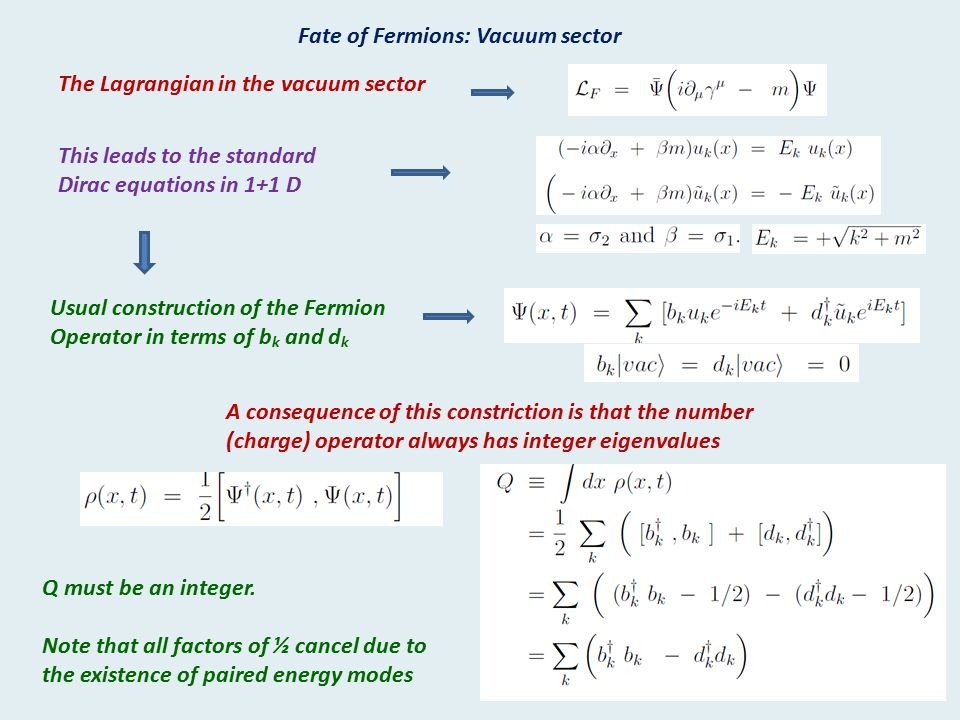 Fate of Fermions: Vacuum sector