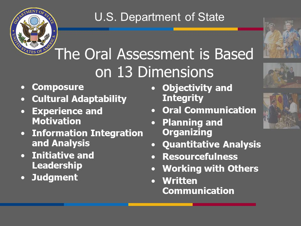 The Oral Assessment is Based on 13 Dimensions