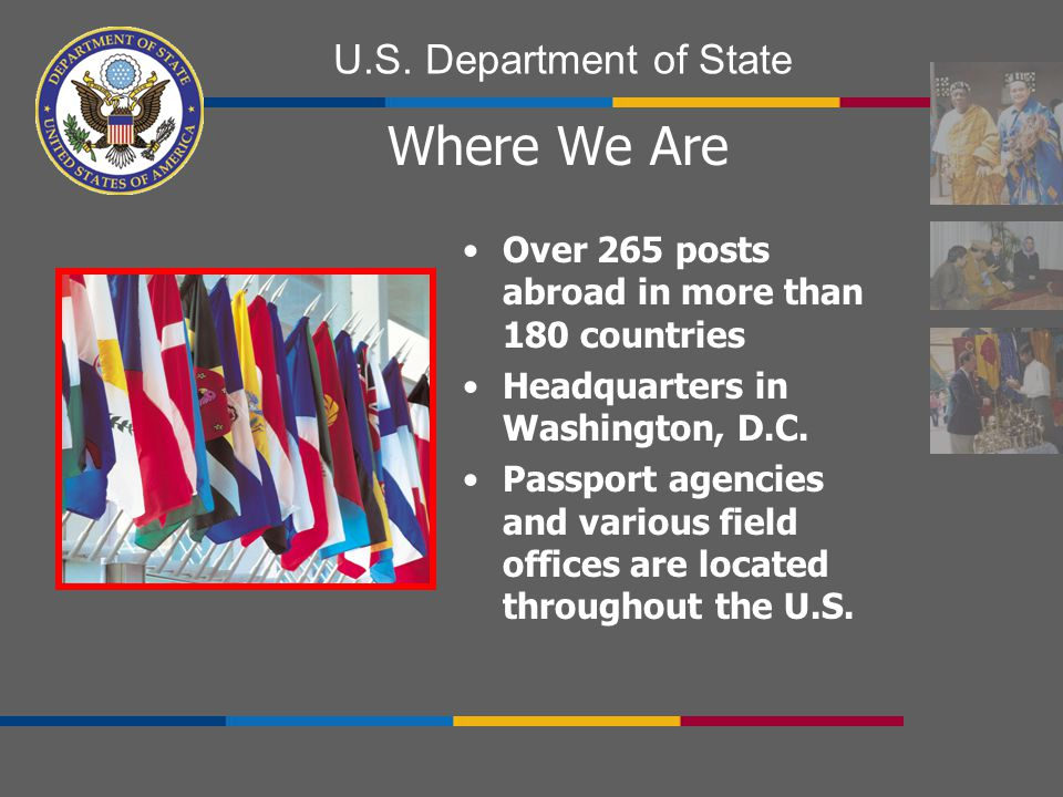 Where We Are Over 265 posts abroad in more than 180 countries