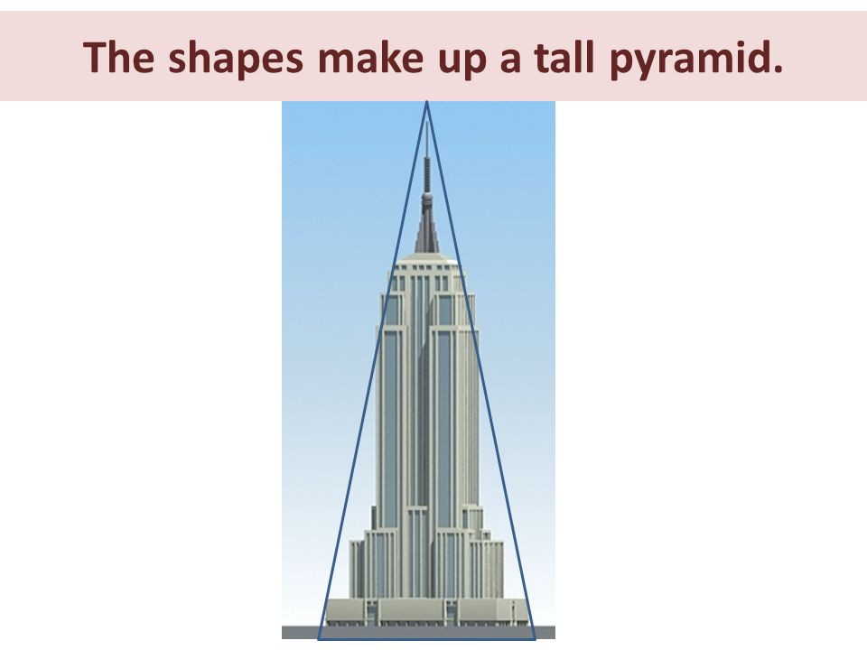 The shapes make up a tall pyramid.