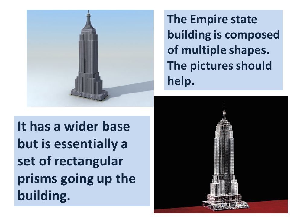 The Empire state building is composed of multiple shapes