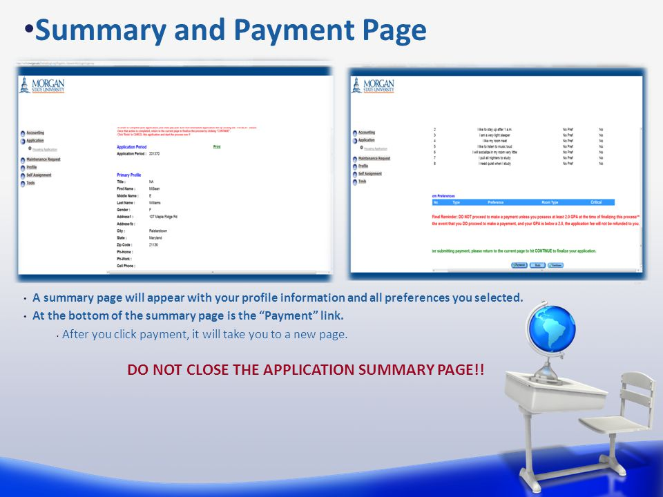 Summary and Payment Page