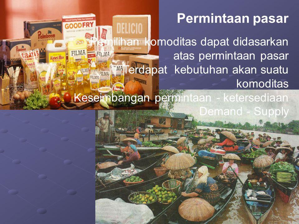 Permintaan pasar Pemilihan komoditas dapat didasarkan atas permintaan pasar. Terdapat kebutuhan akan suatu komoditas.