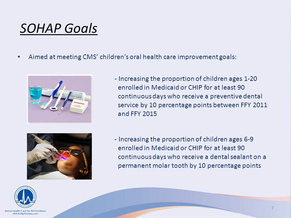 SOHAP Goals Aimed at meeting CMS' children's oral health care improvement goals: - Increasing the proportion of children ages 1-20.