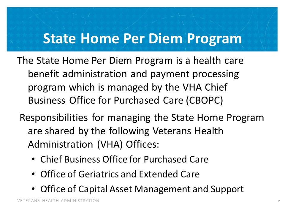 State Home Per Diem Program Cont'd