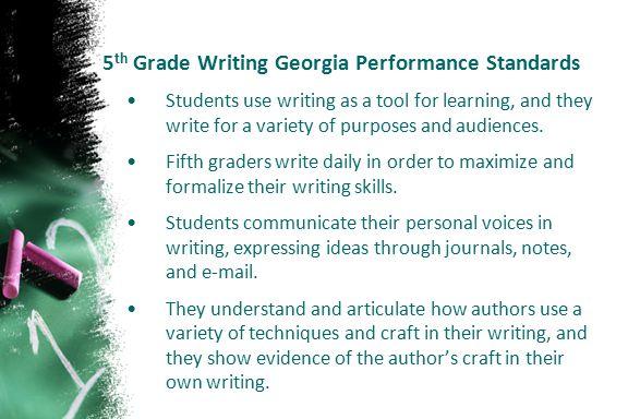 5th Grade Writing Georgia Performance Standards