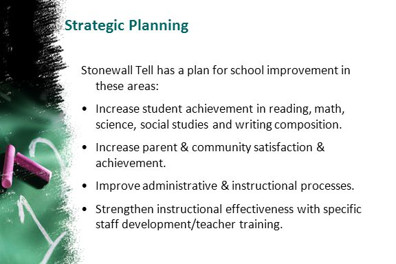 Strategic Planning Stonewall Tell has a plan for school improvement in these areas: