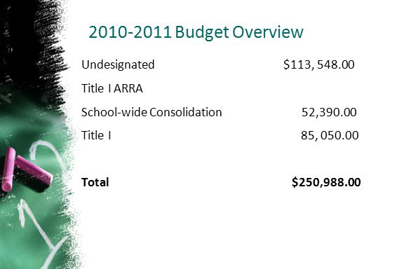 2010-2011 Budget Overview Undesignated $113, 548.00 Title I ARRA School-wide Consolidation 52,390.00 Title I 85, 050.00 Total $250,988.00