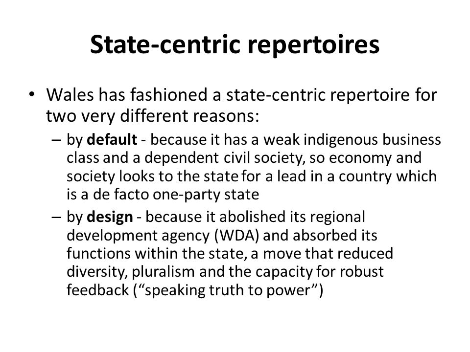 State-centric repertoires