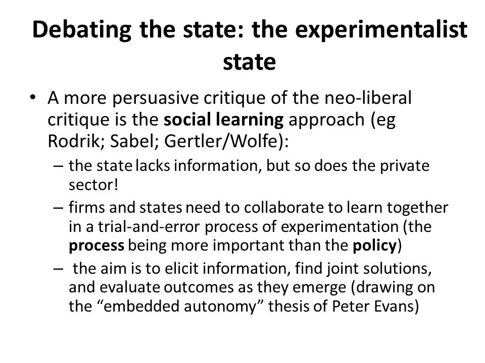 Debating the state: the experimentalist state