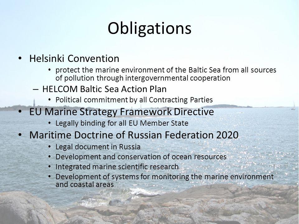 Obligations Helsinki Convention EU Marine Strategy Framework Directive
