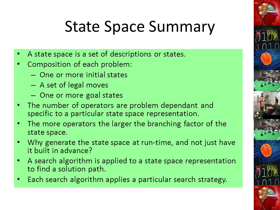 State Space Summary A state space is a set of descriptions or states.