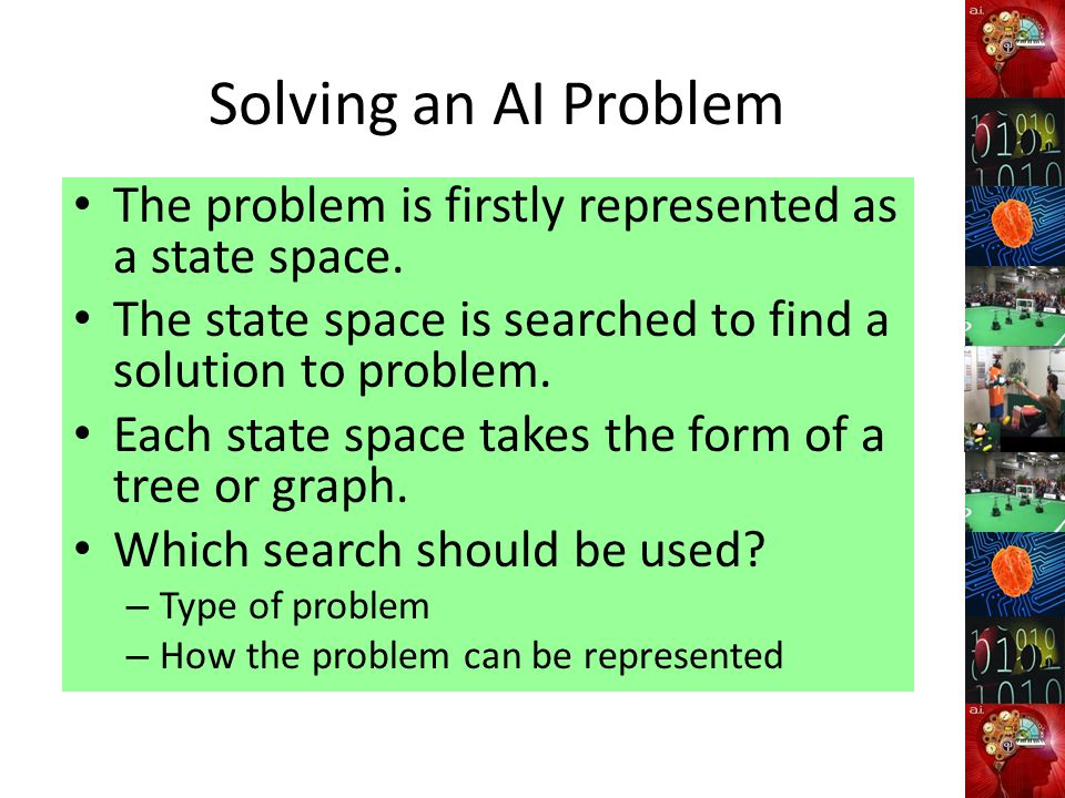 Solving an AI Problem The problem is firstly represented as a state space. The state space is searched to find a solution to problem.