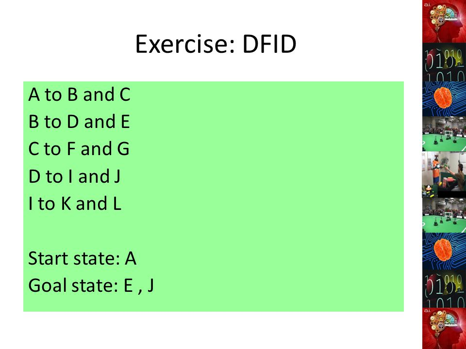 Exercise: DFID A to B and C B to D and E C to F and G D to I and J