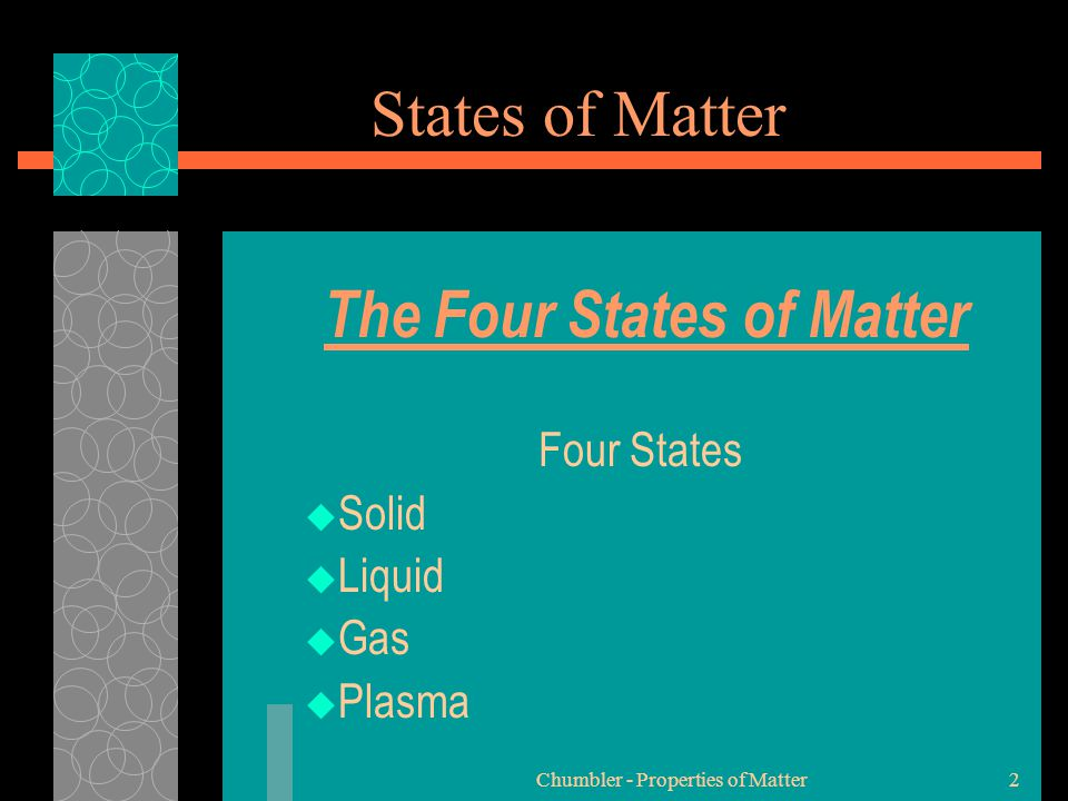 The Four States of Matter Four States Solid Liquid Gas Plasma
