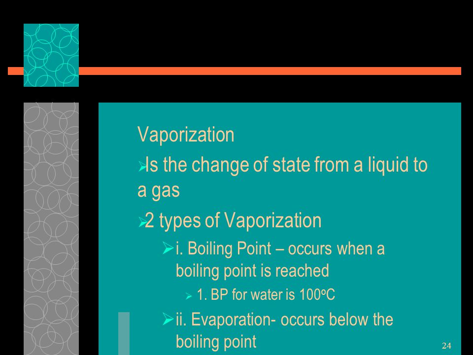 Is the change of state from a liquid to a gas 2 types of Vaporization