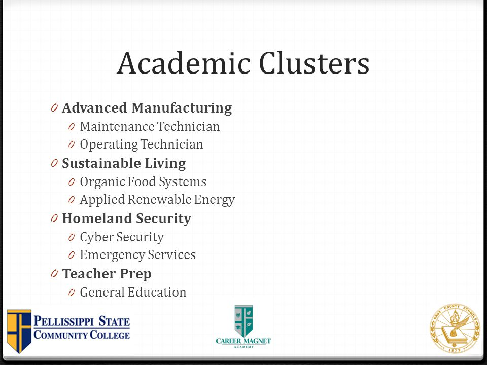Academic Clusters Advanced Manufacturing Sustainable Living