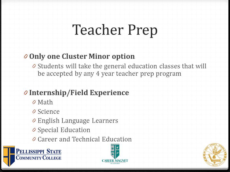 Teacher Prep Only one Cluster Minor option Internship/Field Experience