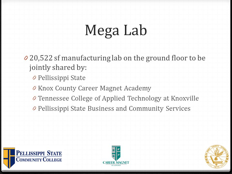 Mega Lab 20,522 sf manufacturing lab on the ground floor to be jointly shared by: Pellissippi State.