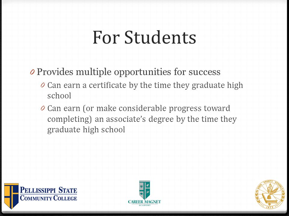 For Students Provides multiple opportunities for success