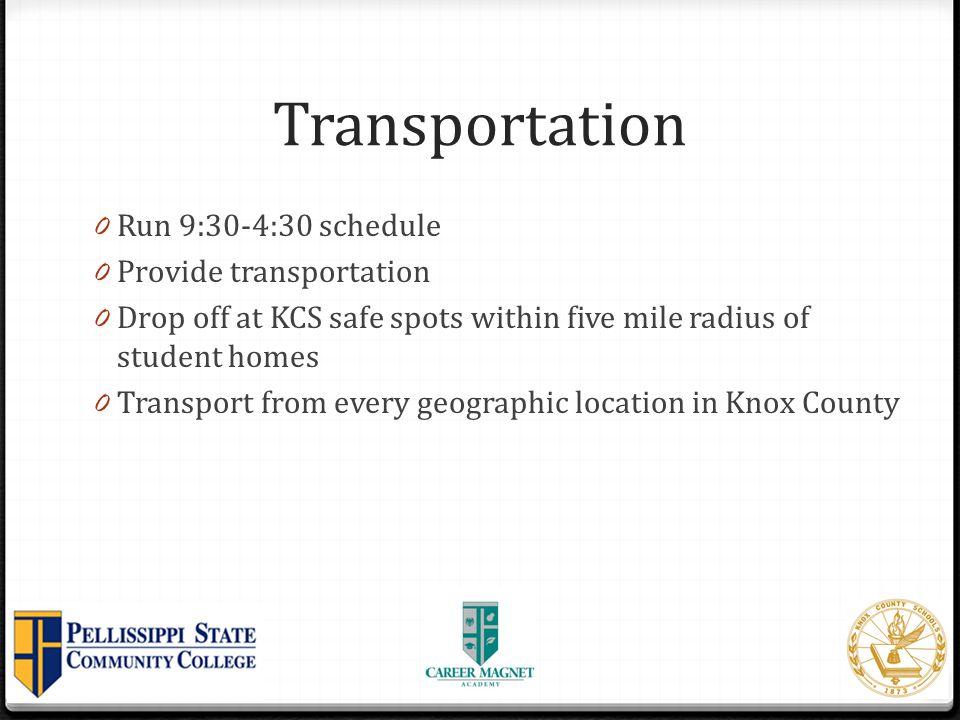 Transportation Run 9:30-4:30 schedule Provide transportation