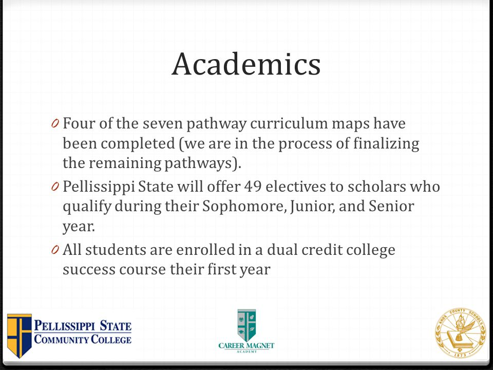 Academics Four of the seven pathway curriculum maps have been completed (we are in the process of finalizing the remaining pathways).