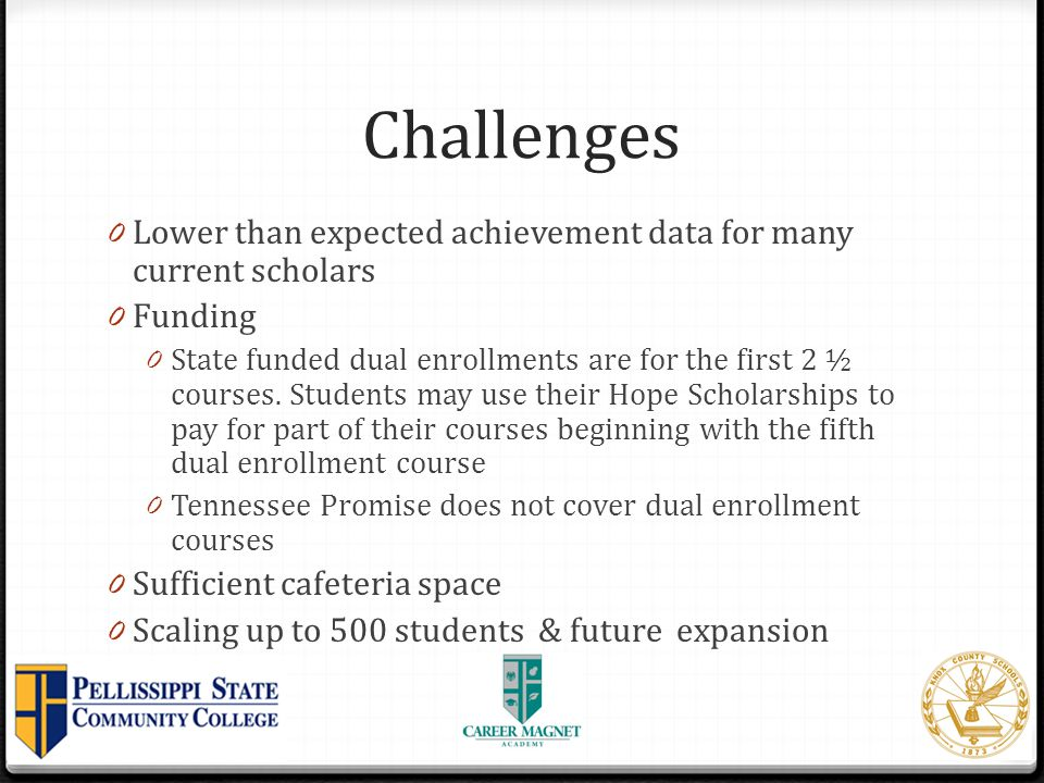 Challenges Lower than expected achievement data for many current scholars. Funding.