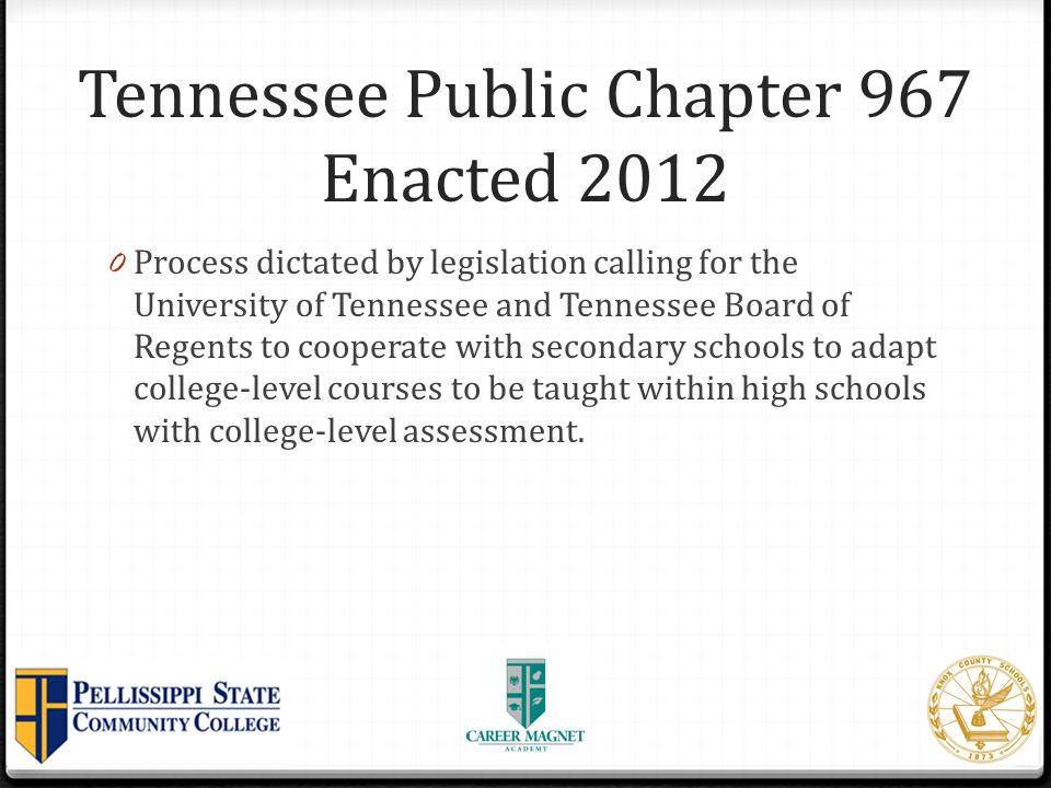 Tennessee Public Chapter 967 Enacted 2012
