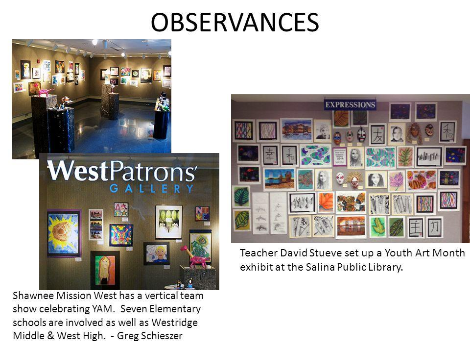 OBSERVANCES Teacher David Stueve set up a Youth Art Month exhibit at the Salina Public Library.