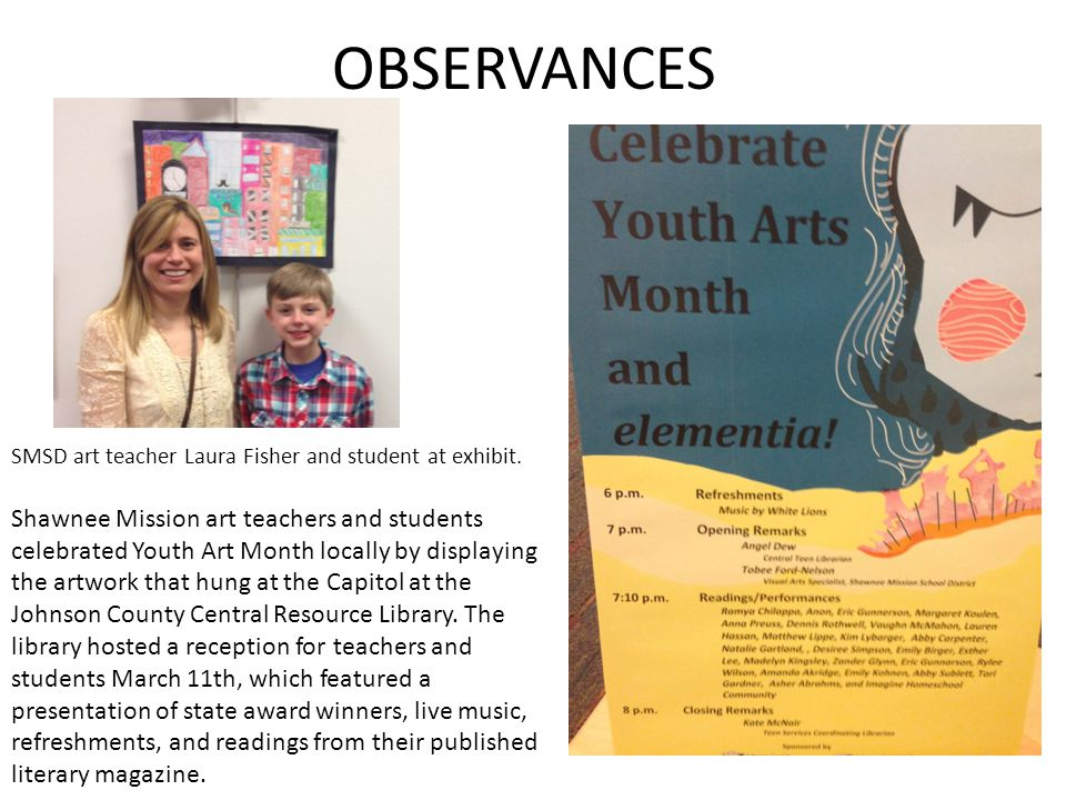 OBSERVANCES SMSD art teacher Laura Fisher and student at exhibit.