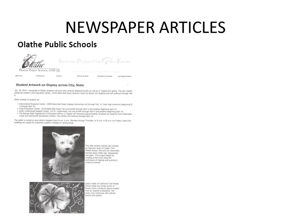 NEWSPAPER ARTICLES Olathe Public Schools