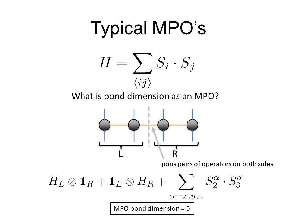 Typical MPO's What is bond dimension as an MPO L R