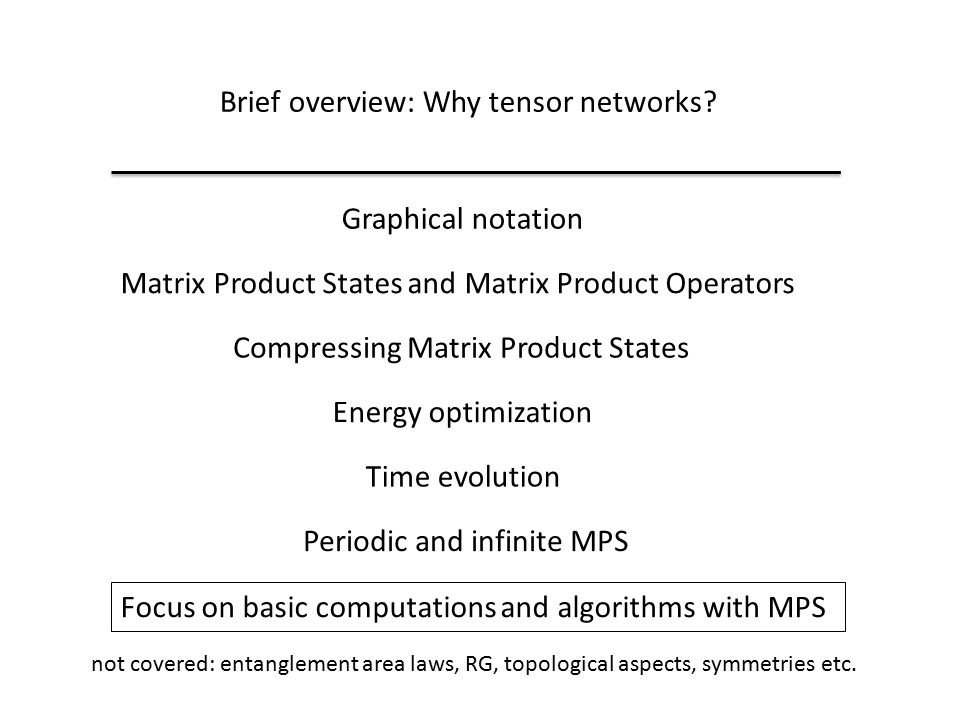 Brief overview: Why tensor networks