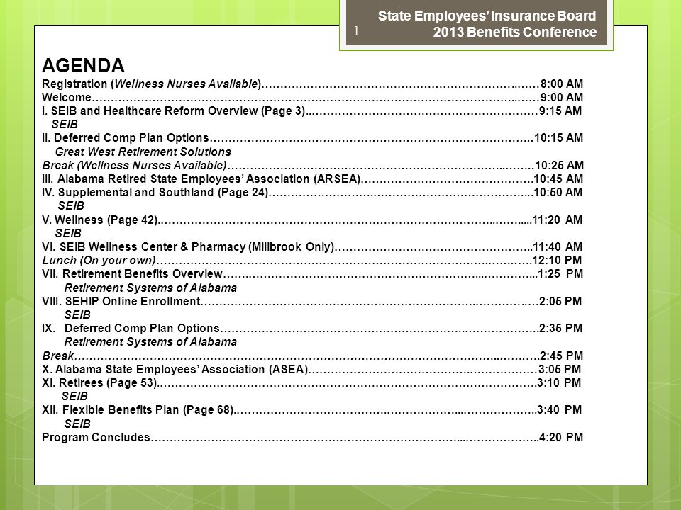 AGENDA State Employees' Insurance Board 2013 Benefits Conference