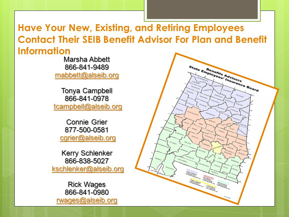 Have Your New, Existing, and Retiring Employees Contact Their SEIB Benefit Advisor For Plan and Benefit Information