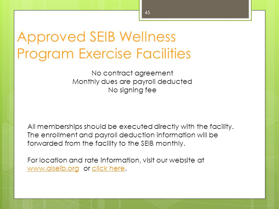 Approved SEIB Wellness Program Exercise Facilities
